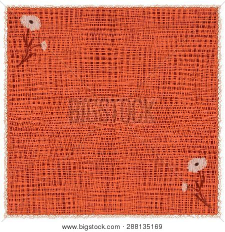 Woven Serviette With Floral Applique And Frame In Orange,brown Colors Isolated On White