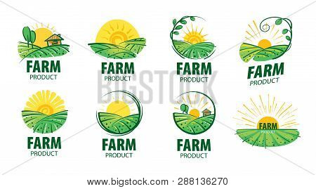 Logo With The Image Of The Field For Farms. Vector Illustration