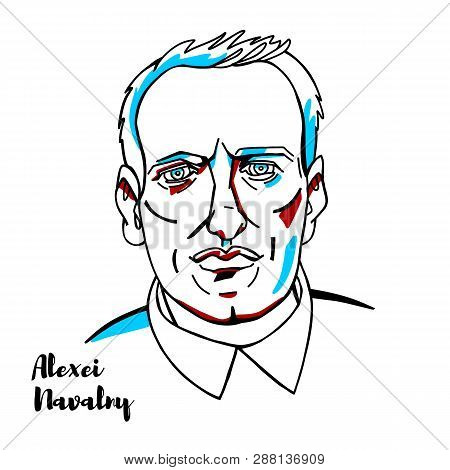China, Chenghai - February, 17, 2019: Alexei Navalny Engraved Vector Portrait With Ink Contours. Rus