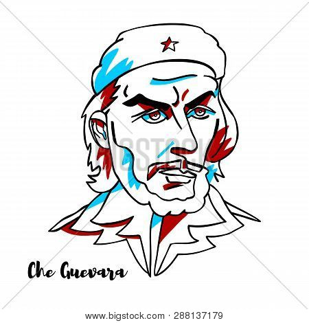 China, Chenghai - February, 13, 2019: Che Guevara Engraved Vector Portrait With Ink Contours. Argent