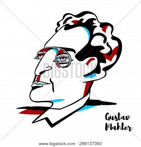 China, Chenghai - January 10, 2019 Gustav Mahler Engraved Vector Portrait With Ink Contours. Austro-