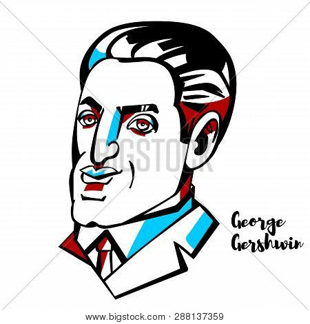 George Gershwin Engraved Vector Portrait With Ink Contours.american Composer And Pianist  Whose Comp