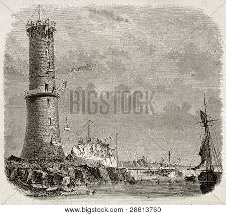 Building Heaux de Brehat lighthouse old illustration, France. By unidentified author, published on Magasin Pittoresque, Paris, 1845