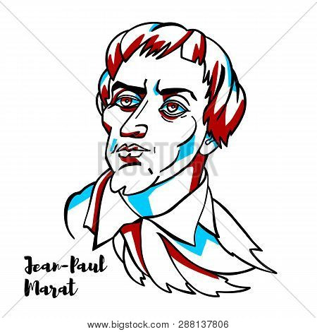 Jean-paul Marat Engraved Vector Portrait With Ink Contours. French Political Theorist, Physician, An