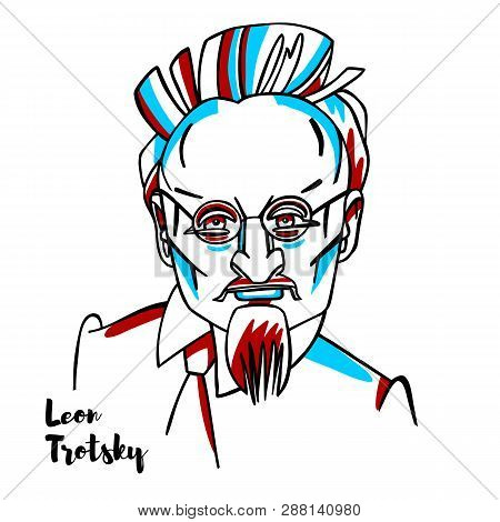 China, Chenghai - February, 12, 2019: Leon Trotsky Engraved Vector Portrait With Ink Contours. Russi