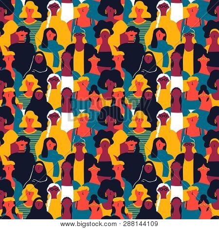 International Womens Day Seamless Pattern Of Diverse Women Faces. Colorful Girl Group Background For