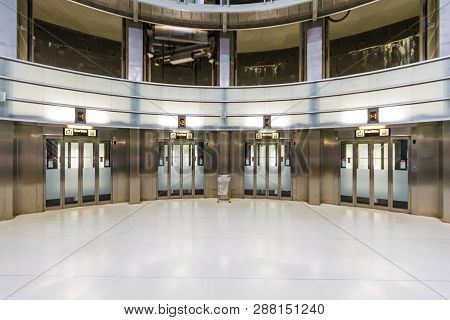 Barcelona, Spain - September 06, 2018: View Of The Lifts In The Lobby Of The Llefia Metro Station In