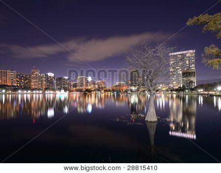 Skyline of Orlando, Florida from lake Eola. poster