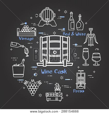 Vector Linear Round Web Banner Of Viticulture, Winemaking And Storage Of Grape. Outline White Icons