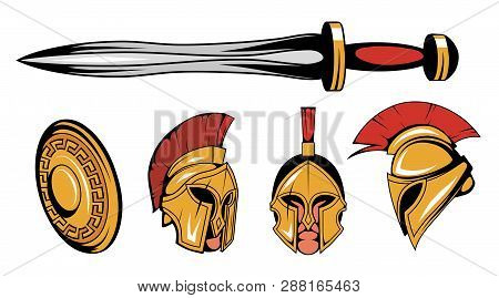 Set Of Roman Or Spartan Warrior Head, Spartan Helmet For Head With Roman Armor And Sword, Spartan Wa