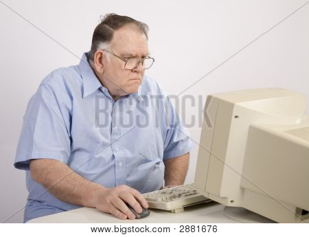 Old Guy On Computer