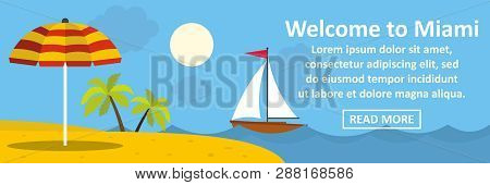 Welcome To Miami Banner Horizontal Concept. Flat Illustration Of Welcome To Miami Banner Horizontal