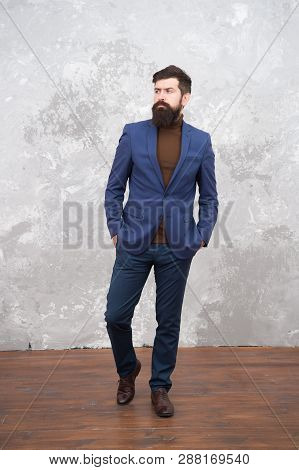 Be Your Own Label. Confident Businessman. Business Manager. Bearded Man In Formal Suit. Bearded Man