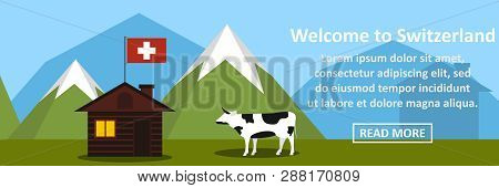 Welcome To Switzerland Banner Horizontal Concept. Flat Illustration Of Welcome To Switzerland Banner