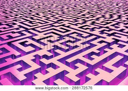 Three-dimensional Infinite Maze In Red And Purple, Lit From The Inside. Perspective View Of The Maze