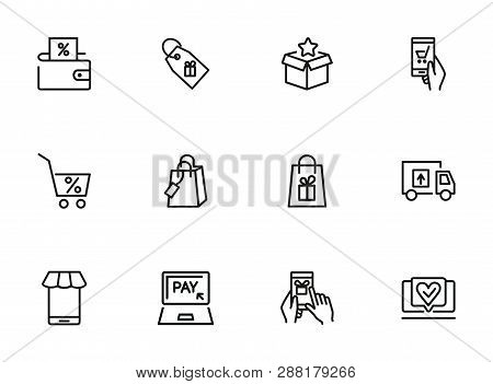 Buying Online Line Icon Set  Packet, Online Payment, Mobile App. Shopping Concept. Vector Illustrati