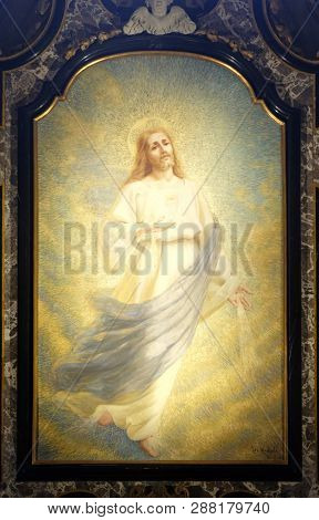 LUGANO, SWITZERLAND - JUNE 24, 2018: Jesus Christ altarpiece in the Cathedral of Saint Lawrence in Lugano, Switzerland
