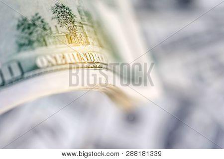 Stack Of Hundred Dollar Bills, Banknotes Of Hundred, Closeup