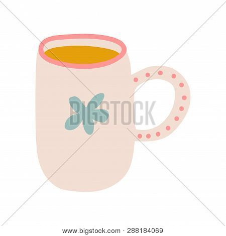 Tea Mug, Cute Ceramic Crockery Cookware Vector Illustration poster