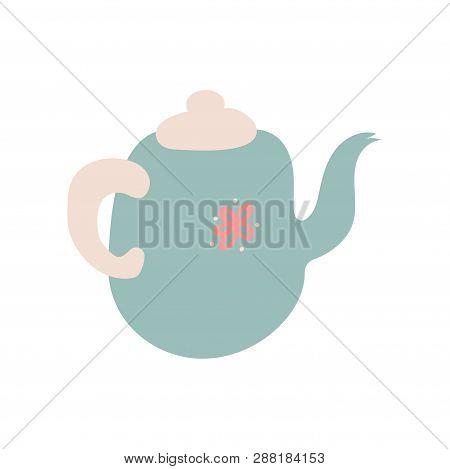 Cute Light Blue Teapot With Spout, Ceramic Crockery Cookware Vector Illustration