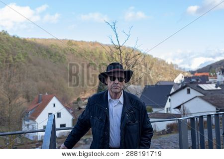 Elderly 80 Plus Year Old Man Portrait In A Outdoor Setting