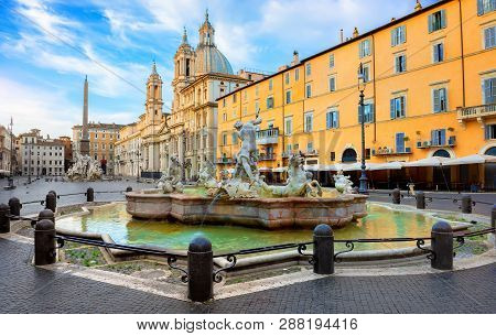 Piazza Navona In The Morning, Rome, Italy
