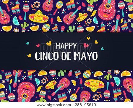 Cinco De Mayo Mexican Festive Banner. Horizontal Card Of Mexican Culture Symbols Collection: Maracas