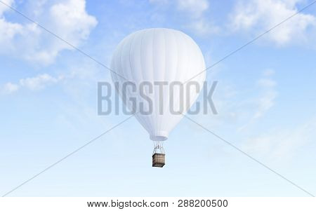 Blank White Balloon With Hot Air Mockup On Sky Background, 3d Rendering. Empty Airship Fly In Heaven