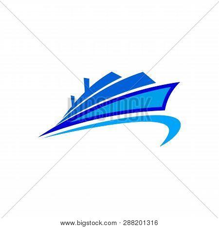 Abstract Ship Logo - Yacht Icon. Ocean Ship Graphic. Marine Boat Transport Symbol. Vector Logo Templ