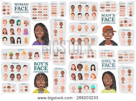 Black Woman, Man, Girl, Boy Character Constructors. From Housewife To Hipster. Cartoon Woman Face Pa