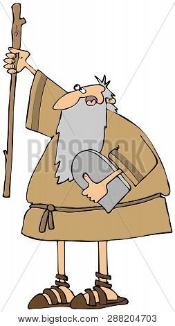 Illustration Of Moses Carrying The 10 Commandments And Raising His Staff To The Heavens.