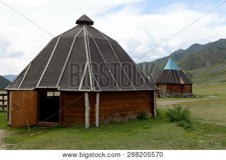 Altai Republic, Russia - June 8, 2018: Altai Ail The Tract Kalbak-tash, Gorny Altai, Siberia, Russia