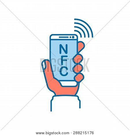 Nfc Line Icon. Payment With Smartphone. Mobile Payment Icon Icon For Apps And Websites. Phone In Han