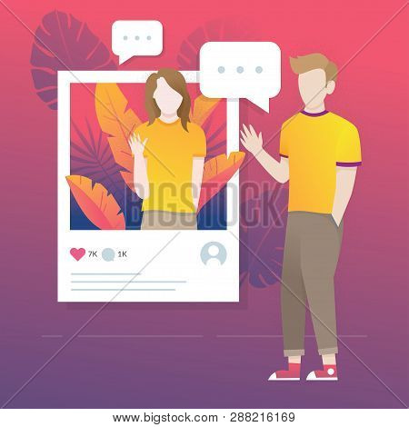 Flat Style Vector Illustration. Share And Live Streaming Of Social Media. Concept Illustration Of Po