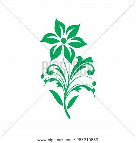 Green Flower Vector Illustration. Golden Flower, Contour Flower, Bloom Flower, Decorative Flower, Is