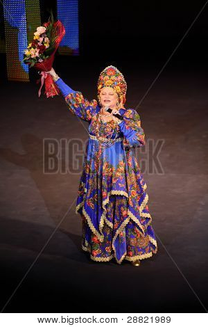 MOSCOW - MAR 17: L.Rumina sings at concert of Gennady Ledyakh School of Classical Dance in theater Et Cetera, Mar 17, 2011, Moscow, Russia. Concert held for winners in competition on Russian language.