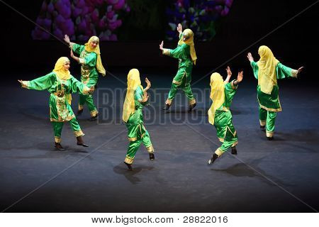 MOSCOW - MARCH 17: Girls dance at concert of Gennady Ledyakh School of Classical Dance in theater Et Cetera, on March 17, 2011 in Moscow, Russia. Concert held for winners in competitions.