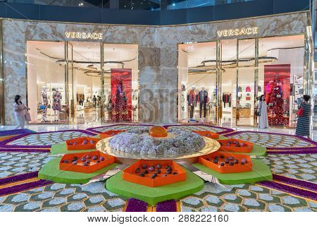 Bangkok, Thailand - November 2018 : Versace Store Etalages In Iconsiam Department Store Which Have M
