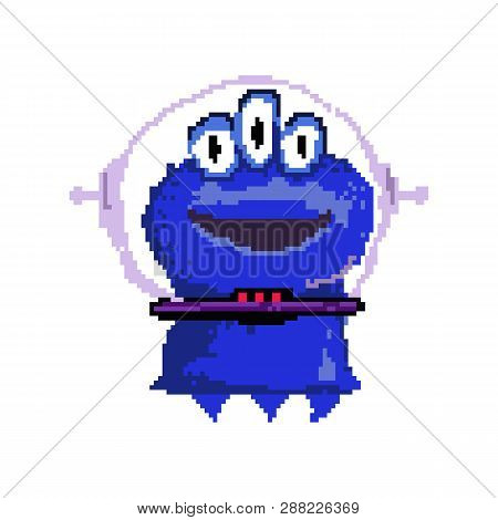 Smiling Pixel Alien With Three Eyes. Funny Blue Martian Wearing Space Suit. Can Be Used For Topics L