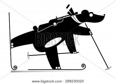 Biathlon Competitor Bear Black On White Illustration. Biathlon Competitor Cartoon Bear Original Silh