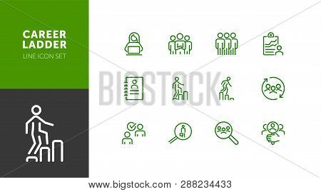 Career Ladder Line Icon Set. Set Of Line Icons On White Background. Human Resource Concept. Employee