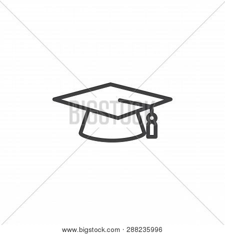 Graduation Cap Line Icon. Linear Style Sign For Mobile Concept And Web Design. Academic Hat Outline