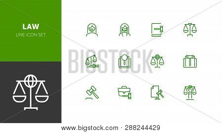 Law line icon set. Set of line icons on white background. Scale, advocate, judge. Law concept. Vector illustration can be used for topics like poster