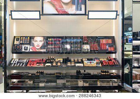 DUBAI, UAE - CIRCA FEBRUARY, 2019: Chanel makeup products on display at Dubai International Airport.