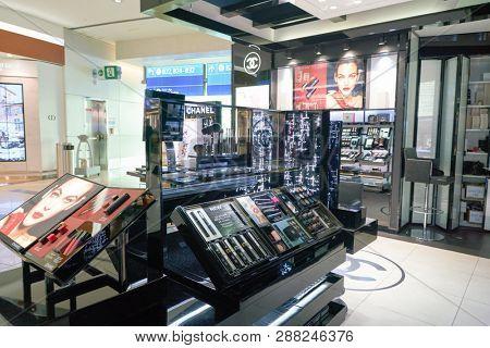 DUBAI, UAE - CIRCA JANUARY, 2019: Chanel makeup products on display at Dubai International Airport.