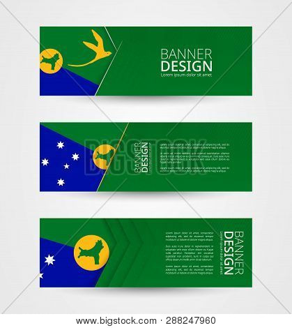 Set Of Three Horizontal Banners With Flag Of Cayman Islands. Web Banner Design Template In Color Of