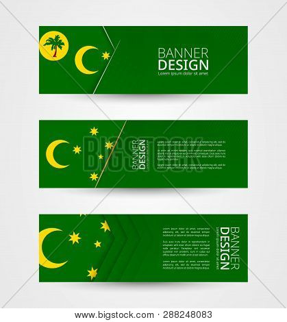 Set Of Three Horizontal Banners With Flag Of Cocos Islands. Web Banner Design Template In Color Of C