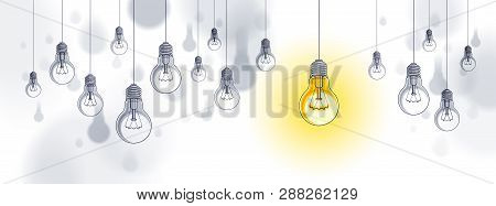 Idea concept, think different, light bulbs group vector illustration with single one is shining, creative inspiration, be special, leadership. poster