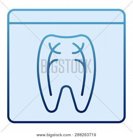 Dental Xray Flat Icon. Tooth Xray Blue Icons In Trendy Flat Style. Orthodontic Roentgen Gradient Sty