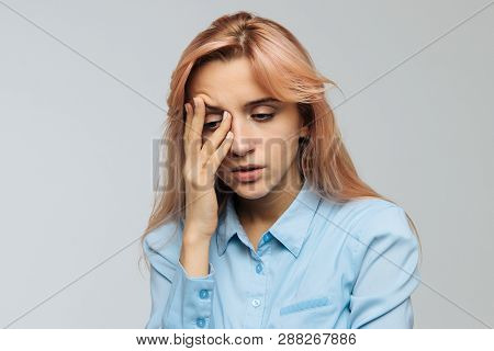 Displeased Woman Nearly Falling Asleep At Work, Hold Her Head With Hand.sleepy Student Spending Time